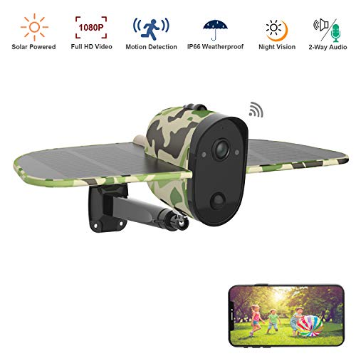 Wireless Outdoor Solar Battery Security Camera,Soliom 1080P HD WiFi Home Surveillance Camera with PIR Motion Sensor,2-Way Audio,Camouflage Color and Large Solar Panel