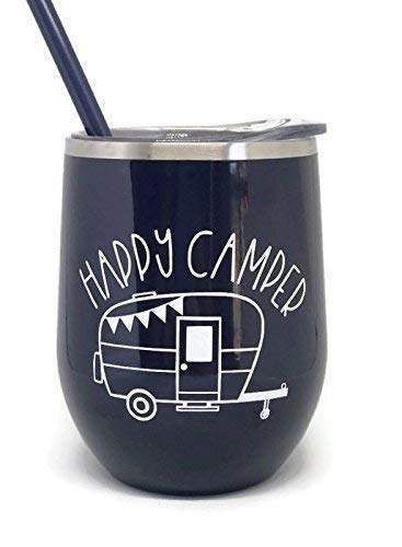 Happy Camper Midnight Blue Stainless Steel Stemless Wine Tumbler Great for Any Occasion Home or Away (Glamping Gear)