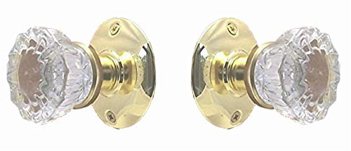 Rousso's Reproductions Fluted Crystal Glass Door Knob Set Affordable Do-It-Yourself Kit for Modern Doors Includes Installation Hardware (Polished Brass) (2-3/8 Passage)