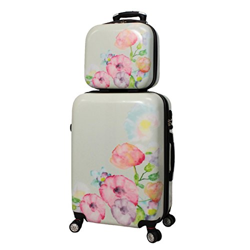 Pink Bloom Flowres Print Travel Luggage 4-Piece Set, Charming Floral Pattern, Stylish, Fashionable, Lightweight, Locking, Hard shell, Hardsided, Upright Rolling Carry On Suitcase, For Girls/Kids