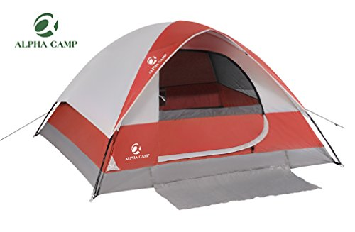 ALPHA CAMP 4 Person Dome Camping Tent 4 Season Family Tent with Carry Bag - 9' x 7' Red