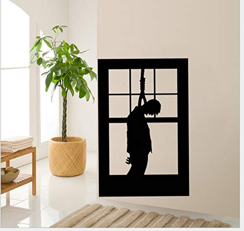 Ymran Halloween Hanging Man Halloween Horror Character Wall Sticker Glass Cupboard Wearing Living Room -