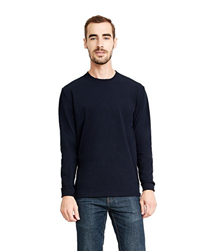 - Next Level Men's Sueded Long-Sleeve Crew T-Shirt, Midnight Navy, Large