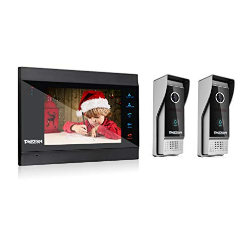 TMEZON Video Doorphone Wireless/Wired 7 Inch Doorbell Intercom System Kit 1-monitor with 2 Cameras Night Vision