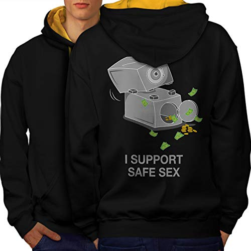 wellcoda Support Safe Sex Funny Mens Contrast Hoodie, Image Print on The Back Black (Gold Hood) L