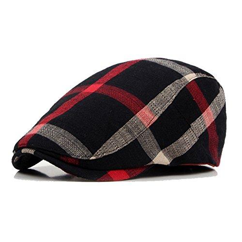 - WEIJUN Men Classic Retro Beret Hat Cotton Plaid newsboy artist Cabbie Flat Cap - Black