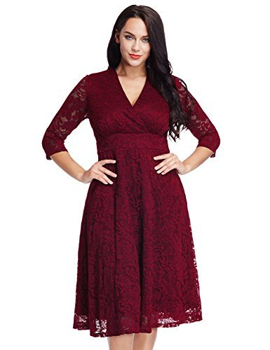 - Lookbook Store Women's Maroon Lace Mother of The Bride Bridal Empire Dress 16W