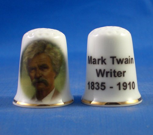 Porcelain China Collectable Thimble - Mark Twain - Free Gift Box