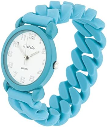 Watch for Kids Children Boys Girls Blue Aqua Rubber Band Colorful Solid Color Perfect Gift (Blue)