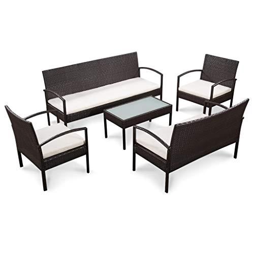 Festnight Set Sofas de Jardin Ratan Sintetico | 1 x Sofa de 3 plazas, 1 x Sofa de 2 plazas, 2 x Sofas Individuales, 1 x Mesa de Centro, 4 x Cojines de Asiento | Negro y Crema