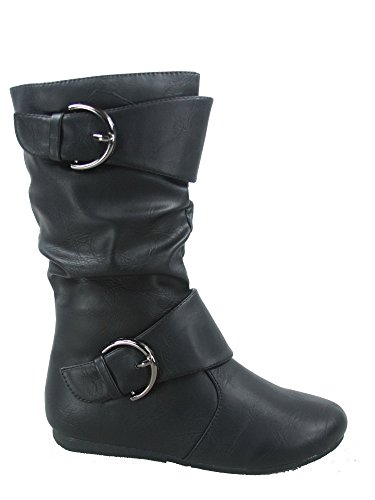 Link Klein-80k Girl's Kid's Cute Faux Leather Two Buckle Zipper Flat Heel Mid Calf Boot Shoes (11 B(M) US, Black)