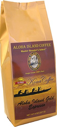 100% Pure Kona Coffee, Aloha Island Brand ESPRESSO Very Dark Roast, Smooth, Low Acid Pure Kona in a Very Robust, Rich Espresso Roast Profile, 8 Oz Ground (Drip Grind)