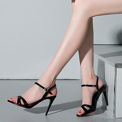 35 Toe Cross Party Courroie 9 pour Talons Strap de WWUX 5CM Black Sandales Commerce Simple Boucle Stiletto Cheville D'été Haute Mode Femmes Peep Chaussures Show q4wWFWSt