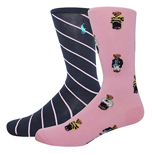 Polo Ralph Lauren Men's 2-Pack Assorted Polo Bear Solid Dress Sock, Pink/All Over Preppy Bears ()