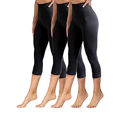 Amazon.com : YOLIX High Waisted Capri Leggings for Women Tummy Control Soft Opaque Slim Tights for Cycling, Running, Yoga Reg & Plus Size : Clothing