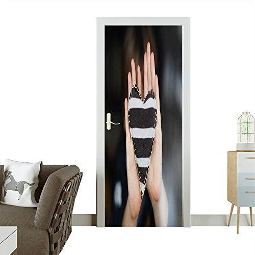 Door Art Sticker Homemade Heart Room Decoration W38.5 x H79 INCH ()