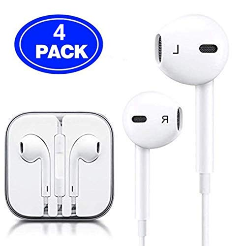 Wired Headphones Bass Headsets with Microphone and Volume Control Compatible with iPhone 6 6s 5s and All 3.5mm Phones (4Pack)