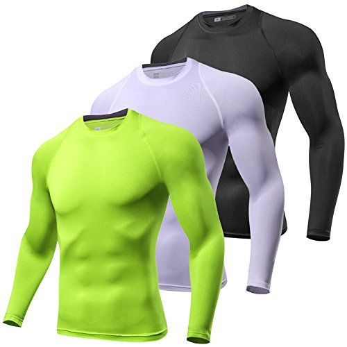 Sports Performance Long Sleeve - Lavento Men's Compression Shirt Sport Performance Crewneck Long-Sleeve T Shirt(3 Pack-Black/White/Yellow Green,Medium)