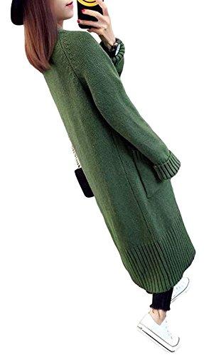 topmodelss ロングカーディガン 秋 長袖 レディース トップス 無地 膝下丈 シンプル ニットコート ゆったり 暖かい ワンサイズ カットソー 韓国 ファッション 防寒