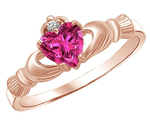 (Jewel Zone US Heart Shaped Simulated Ruby & Cubic Zirconia Claddagh Ring in 14k Rose Gold Over Sterling Silver Ring Size - 7)