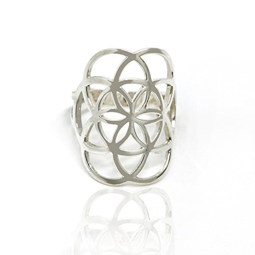 925 Sterling Silver Cut-out Open Wide Flower of Life 25mm Band Ring for Women - Nickle Free, Size 9 by Chuvora