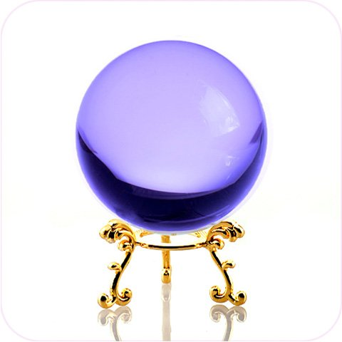 Amlong Crystal Purple Crystal Ball 60mm (2.3 in.) Including Golden Flower Stand and Gift - Fortune Teller Ball