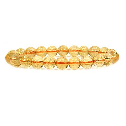 Natural AA Citrine Gemstone 8mm Round Beads Stretch Bracelet 7 Unisex
