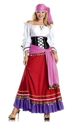 Be Wicked Tempting Gypsy Costume, Red/White/Purple/Black, Medium/Large
