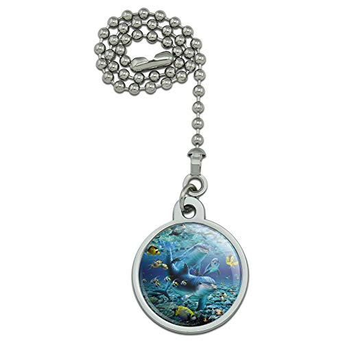 GRAPHICS & MORE Coral Reef Diving Dolphin Pals Diving Ceiling Fan and Light Pull Chain
