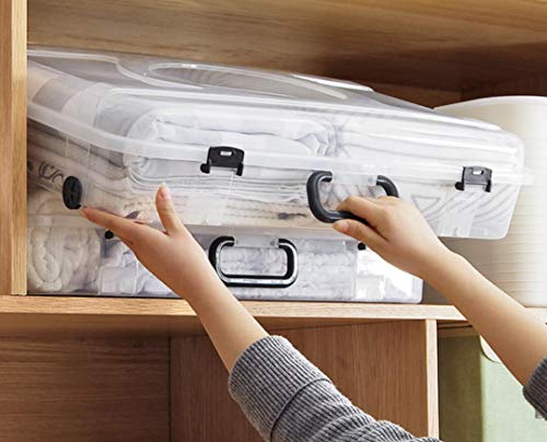 Super Satchel Deep, Clear Art and Craft Storage Container Box, Transparent Belt Pulley Slit Bed Bottom Storage Box Household Quilt Clothes Portable Storage Box
