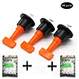 Ceramic Tile Leveler Construction Tools Reusable Tile Leveling Tiles Leveler Spacers Tile Leveling System with Special Wrench Reusable Spacer Flooring Level (100pcs black)