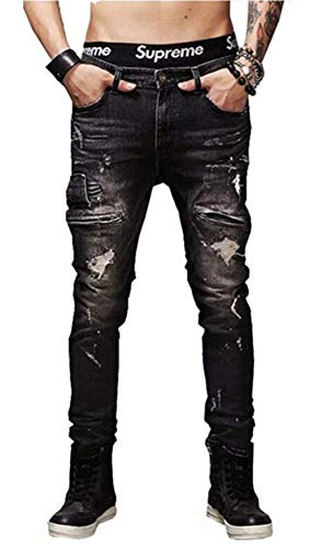 Moda Hombre Recto Nn RT Ripped Closure Hole Skinny Denim Biker Denim Fit Jeans Twill Pantalones 11 Estilos (Color : 9852-Black, Size : 35)