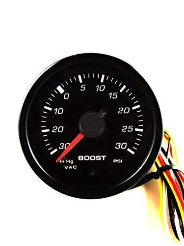 RICO Instrument 45mm Performance Miniature Boost Universal Meter Gauge-PSI/ 30 InHg-30PSI/Gauge/Black/White light / 12V ()