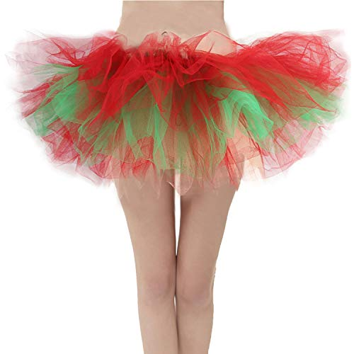 Girstunm Women's Classic Layers Fluffy Costume Tulle Bubble Skirt Red-Green-Standard Size