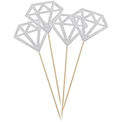 ULTNICE Diamond Cake Topper Cupcake Picks Wedding Party Decoration 50pcs (Glitter Silver)