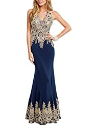 Miss Chics Long Prom Dresses Mermaid Evening Gowns for Women Lace Rhinestones