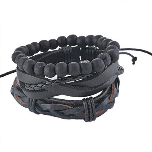 MJARTORIA Unisex PU Leather Hemp Cords Beaded Multi Strands Adjustable Wrap Bracelets Set of 3 Black (Hemp Bracelet Pack compare prices)