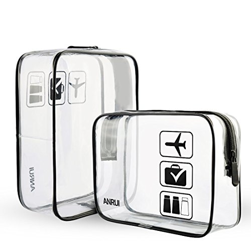 Anrui TSA Approved Toiletry Bag Clear Travel Carry-On Compliant Organizer For Women Men Kids (2pcs/Pack) 1 Quart Zip Top Bag