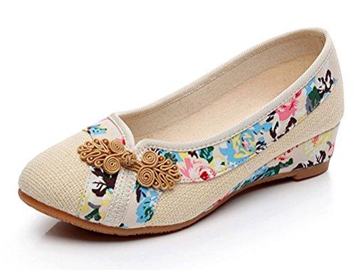 Soojun Traditionnel Chinois Bout Pointu Slip Sur Les Chaussures De Marche # 5 Beige