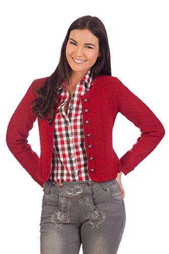 Damen Trachten Strickjacke - BONN - rot, natur, Größe XL