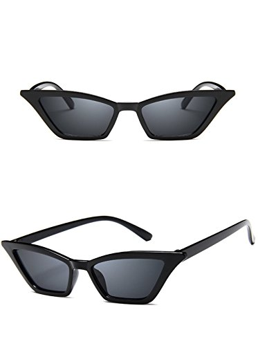 W&Y YING Retro Small Frame Skinny Cat Eye Sunglasses for Women Colorful Mini Narrow Square Thin Cateye Vintage Sunglasses (Black) -