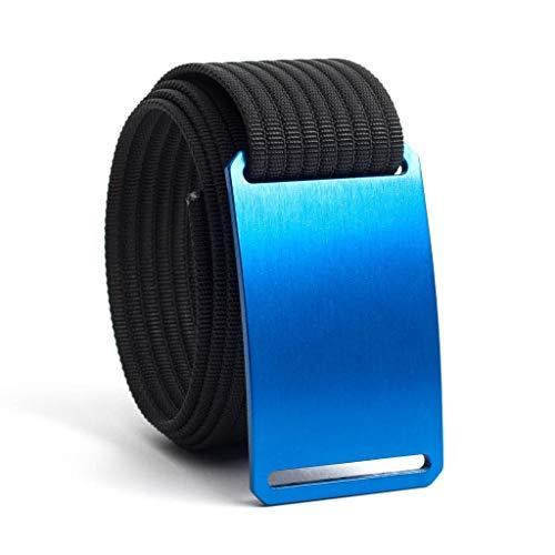36 Inch Blue Belt Buckle w/Black Strap (Blue Canvas Belt)