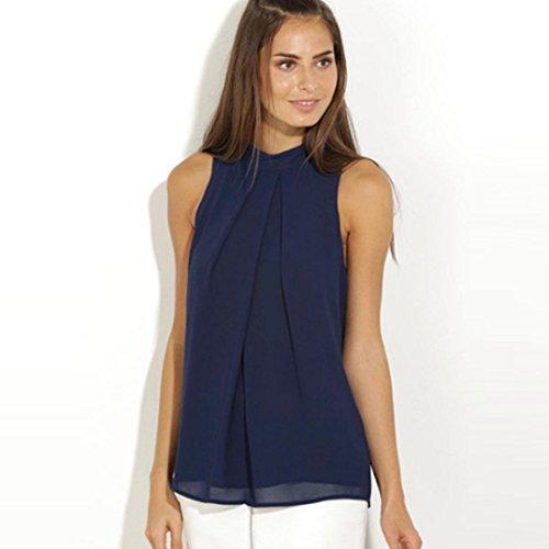 Miskay Casual Chiffon Blouse, Misaky Sleeveless Shirt T-Shirt Summer Blouse Tops (S, Blue) (Womens T-shirt Cut Geek)