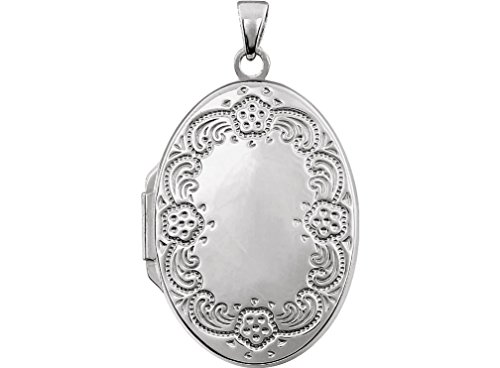 Sterling Silver Oval Floral Border Locket by The Men's Jewelry Store (for HER)