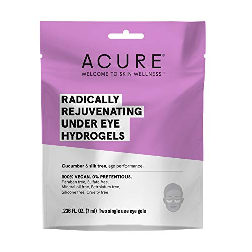 ACURE Radically Rejuvenating Under Eye Hydrogel Mask 100 Vegan Provides Anti-Aging Support Cucumber Silk Tree – Hydrates Rejuvenates 5 Count