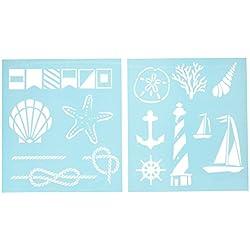 Martha Stewart Crafts Medium Stencils (8.75 by 9.75-Inch), 32257 Nautical Study (2 Sheets with 14 Designs)