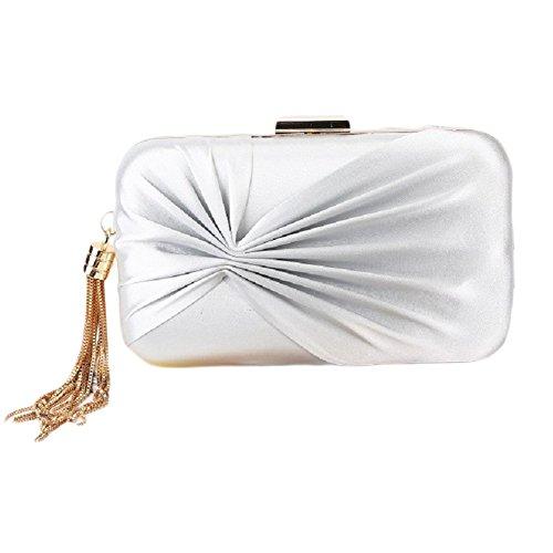QZUnique Knotted Satin Pleat Clutch Bag Wedding Purse Bridal Prom Handbag Party Bag for Women Ladies ()