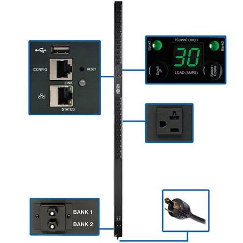 Tripp Lite PDU Monitored 2.9kW 120V 24 5-15/20R Outlets 30A w/ L5-30P, LX Platform Interface 0URM TAA ()