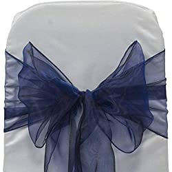 mds Pack of 50 Organza Chair sash Bow Sashes for Wedding and Events Supplies Party Decoration Chair Cover sash -Navy Blue