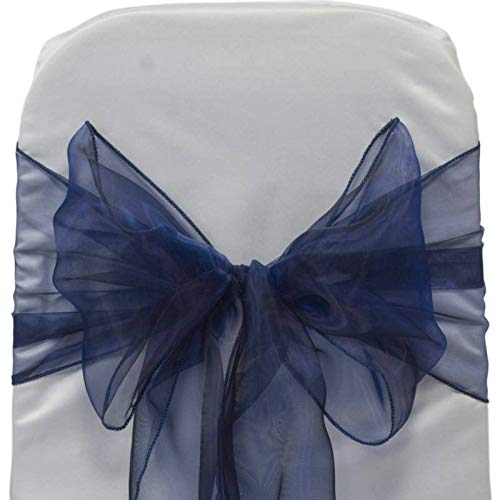 Organza Wedding Sashes - mds Pack of 50 Organza Chair sash Bow Sashes for Wedding and Events Supplies Party Decoration Chair Cover sash -Navy Blue